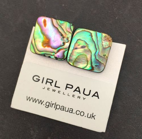 Paua Clip On Stud Earrings - Large Square Natural PE07-LQN